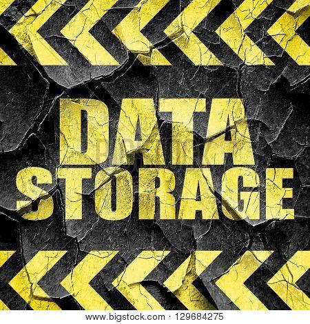 data storage, black and yellow rough hazard stripes