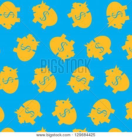 Piggy bank pattern color. Piggy saving dollar and money bank finance. Vector flat design illustration