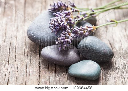 Stones with lavender on old shabby wooden background