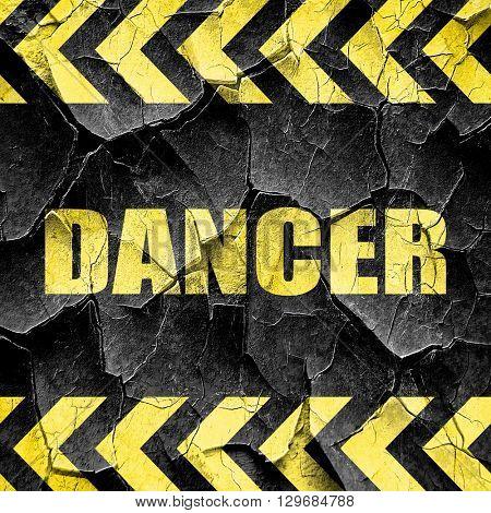 dancer, black and yellow rough hazard stripes