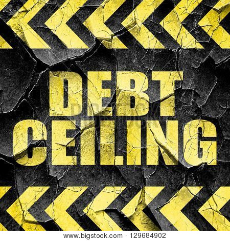 debt ceiling, black and yellow rough hazard stripes