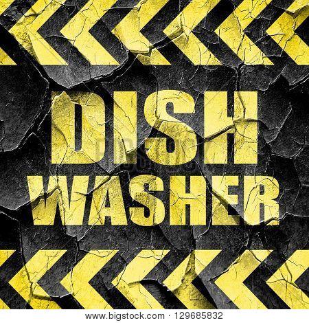 dish washer, black and yellow rough hazard stripes