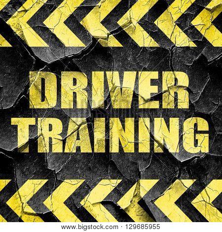 driver training, black and yellow rough hazard stripes