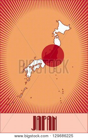 Vector map of Japan in the traditional Japanese colors made in retro style with Ben-Day dots. No transparency, no blending.