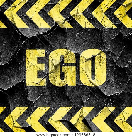 ego, black and yellow rough hazard stripes