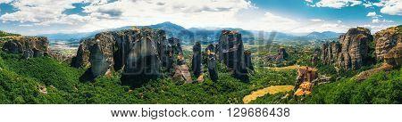 Panoramic view of Meteora monasteries in Trikala Greece