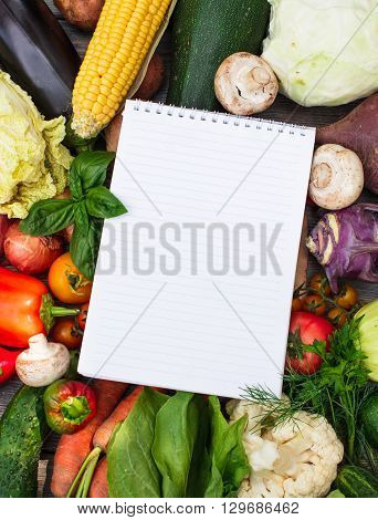 Shopping list on the vegetables with copy space