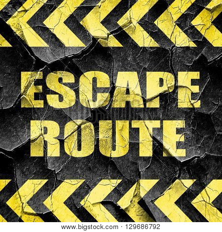 escape route, black and yellow rough hazard stripes