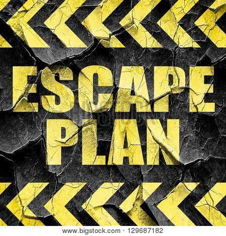 escape plan, black and yellow rough hazard stripes
