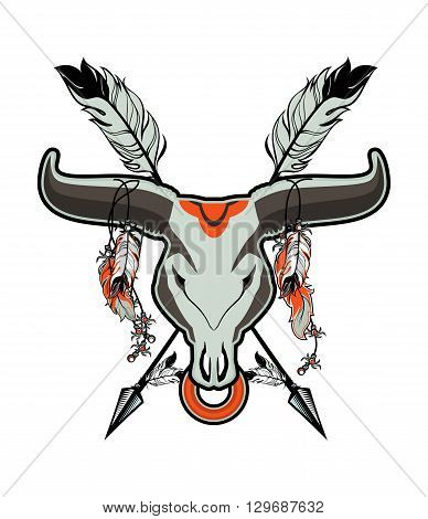 skull of a bull with long horns in the background Dreamcatcher and shamanism attributes