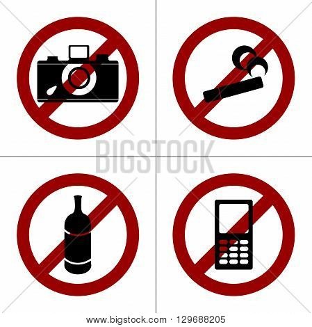 Set of four prohibition icons: no smoking, no photo shooting, no drinking, no cell phones. Simple isolated pictogram on a white background.