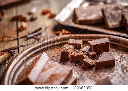 Shattered homemade chocolate handmade sweets, studio shot