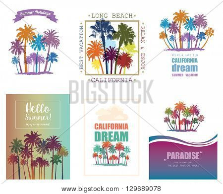 Exotic Travel Background with Palm Trees.  Set of Summer Tropical Banners.