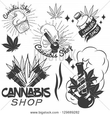 Vector set of medical marijuana labels in vintage style. Cannabis emblems, badges and logos for shop design. Weed leafs, bong.
