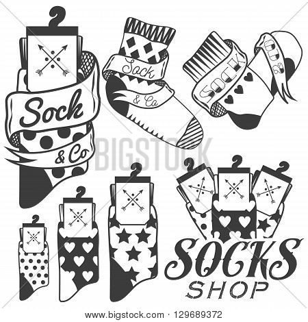 Vector set of socks emblems and labels.
