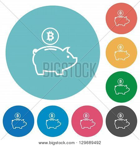 Flat bitcoin piggy bank icon set on round color background.