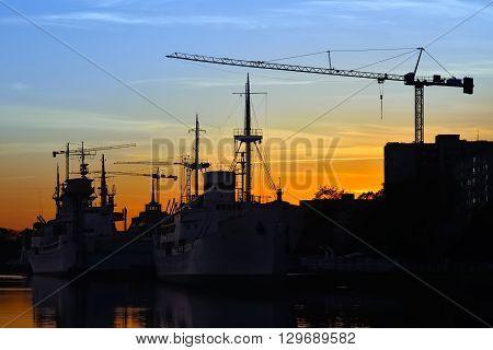 Evening on the Pregel river. Kaliningrad, Russia