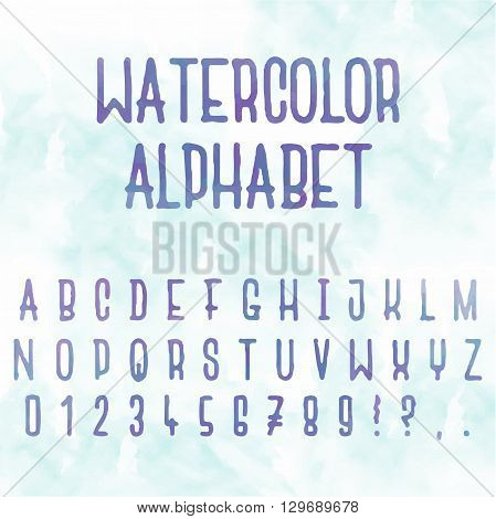 Watercolor alphabet. Abstract alphabet with letters with blue background. Hand drawn font and alphabet.