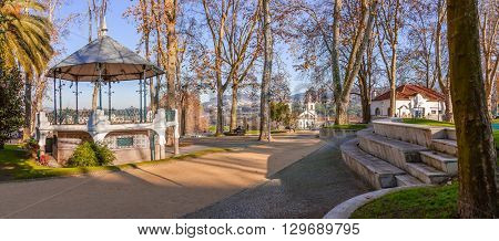 Santo Tirso, Portugal. December 22, 2015: Bandstand in the Dona Maria II Park.