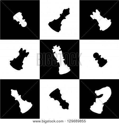 Vector chess figures on a table. Hand drawn set of six types of figures. Isolated shapes.