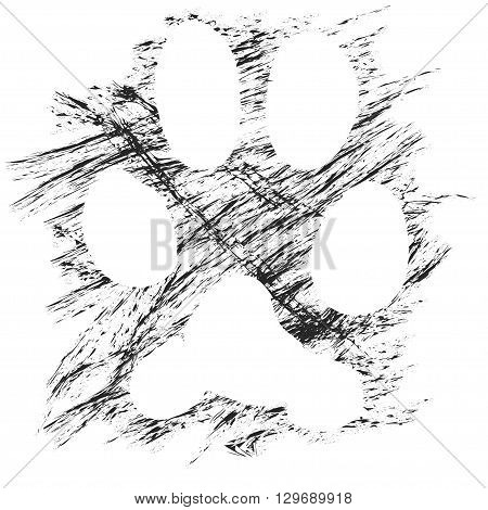 Vector dog's paw print made with chalk brush. Black and white image. No transparency, no blending.