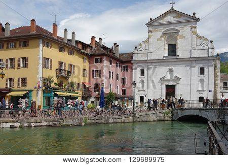 ANNECY FRANCE - 29 APRIL 2015: View of the cathedral in city centre of Annecy capital of Haute Savoie province in France. Annecy is known to be called the French Venice