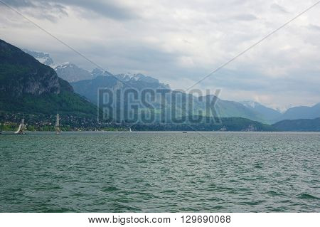View of the lake of Annecy capital of Haute Savoie province in France