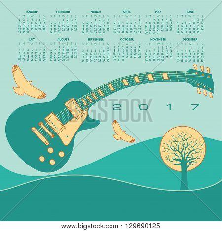 A 2017 Colorful, whimsical, funky guitar calendar