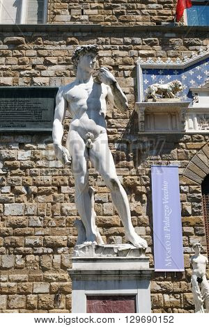 FLORENCE, ITALY - JUNE 05: Statue of Michelangelo's David in front of the Palazzo Vecchio in Florence, Italy, on June 05, 2015