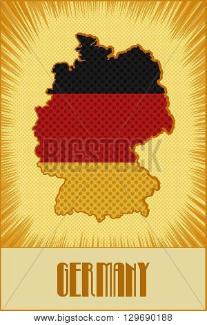Germany map in colors of the official Germany flag made in retro style with Ben-Day dots. With transparency and blending modes.