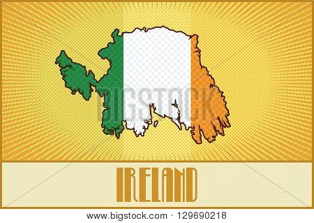 Vector map of Ireland in colors of the Irish flag made in  retro style with Ben-Day dots. With a transparency and a blending mode.