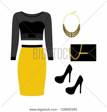 Fashion look illustration. Skirt top bag shoes necklace. Vector illustration