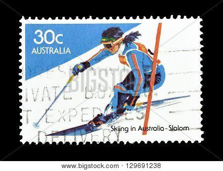 AUSTRALIA - CIRCA 1984 : Cancelled postage stamp printed by Australia, that shows Slalom.