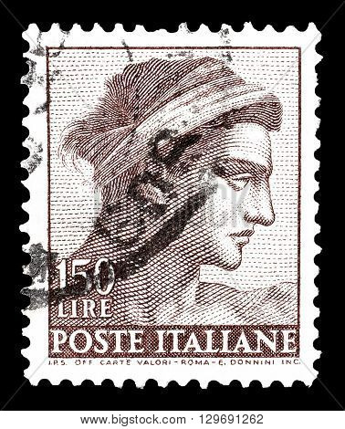 ITALY - CIRCA 1961 : Cancelled postage stamp printed by Iran, that shows Head of naked by Michelangelo.