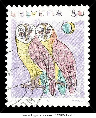 SWITZERLAND - CIRCA 1991 : Cancelled postage stamp printed by Switzerland, that shows Owls.