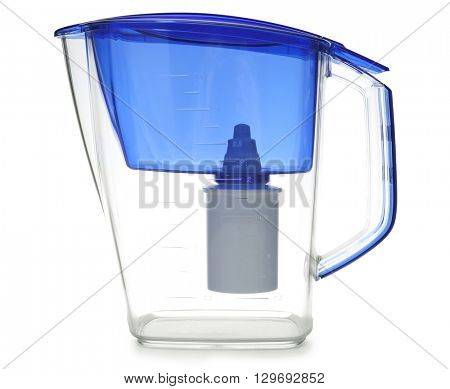 Water filter jug, isolated on white