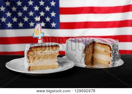 Piece of American flag cake. Fourth of July day concept.