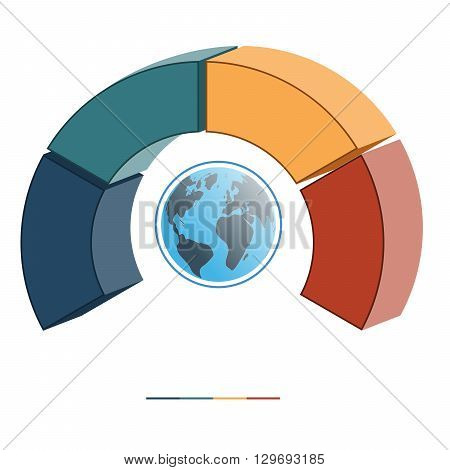Template for infographics coloured parts semicircle and globe four positions options parts or processes. 3D illustration.