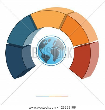 Template for infographics coloured parts semicircle and globe five positions options parts or processes. 3D illustration.