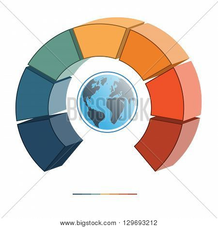 Template for infographics coloured parts semicircle and globe seven positions options parts or processes. 3D illustration.
