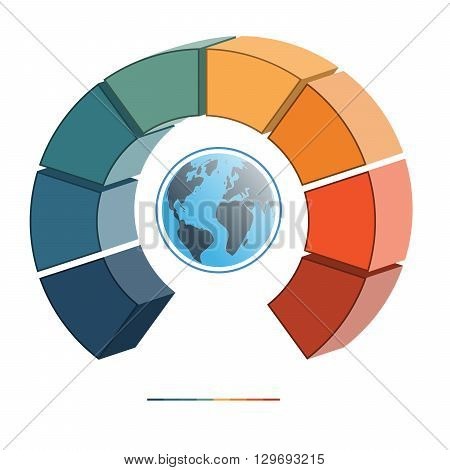 Template for infographics coloured parts semicircle and globe eight positions options parts or processes. 3D illustration.