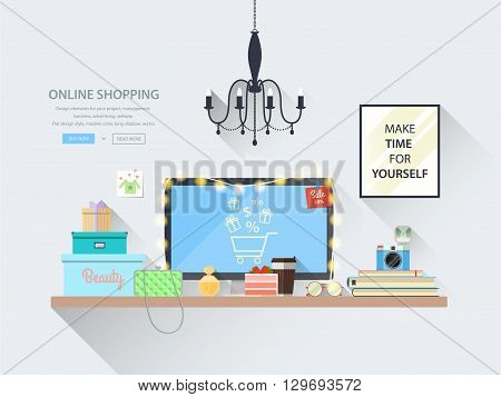 Сoncepts web banner for websites of online shopping. Modern vector illustration of blogger workplace in room. Creative office interior. Flat minimalistic style, colors with long shadows. Icons collection.