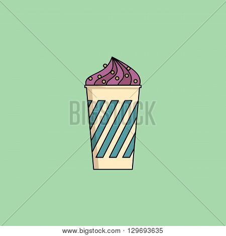 Cute cartoon blueberry icecream in cup with candy sprinkling. Sundae flat icon on green background. Minimal line style, modern color. Ice-cream web, mobile icon, design element. Vector illustration
