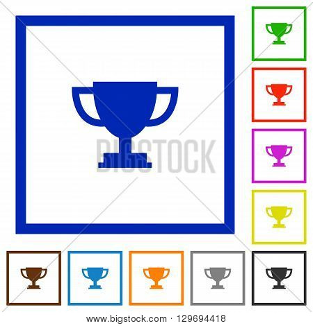 Set of color square framed Trophy cup flat icons on white background