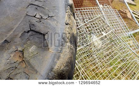 Old Damaged Rubber Industrial Tyre
