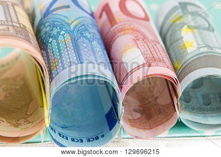 Rolled Up Euro Bills