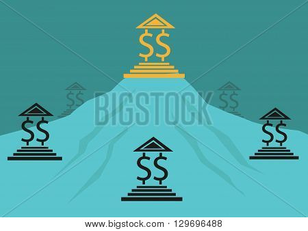 Monopoly, competition or Banking concept. Editable Clip Art.