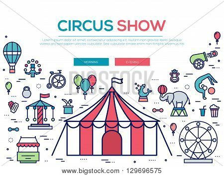 Premium quality circus outline icons collection set.  Festival linear symbol pack. Modern show template of thin line icons, logo, symbols, pictogram and flat illustrations concept