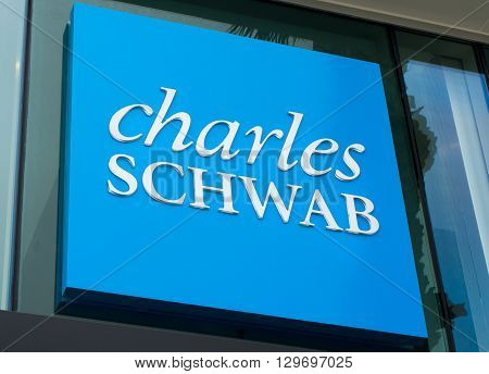 SANTA MONICA CA/USA - MAY 12 2016: Charles Schwab exterior sign and logo. The Charles Schwab Corporation is an American brokerage and banking company.