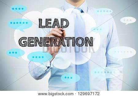 Lead generation concept with writing businessman, close up